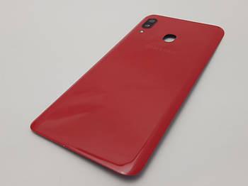 С дефектом. Крышка Samsung A20 (A205F) красная со стеклом камеры с разборки(царапины)