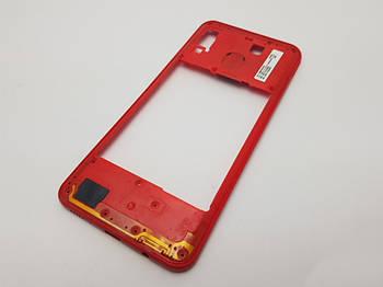 Средний корпус Samsung A20 (A205F) красный Сервисный оригинал с разборки