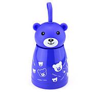 Термосы со скидкой для чая большой Мишка веселый, синий цвет