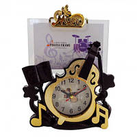 Фоторамка с часами Виолончель оригинальные подарки необычные прикольные красивые сувениры