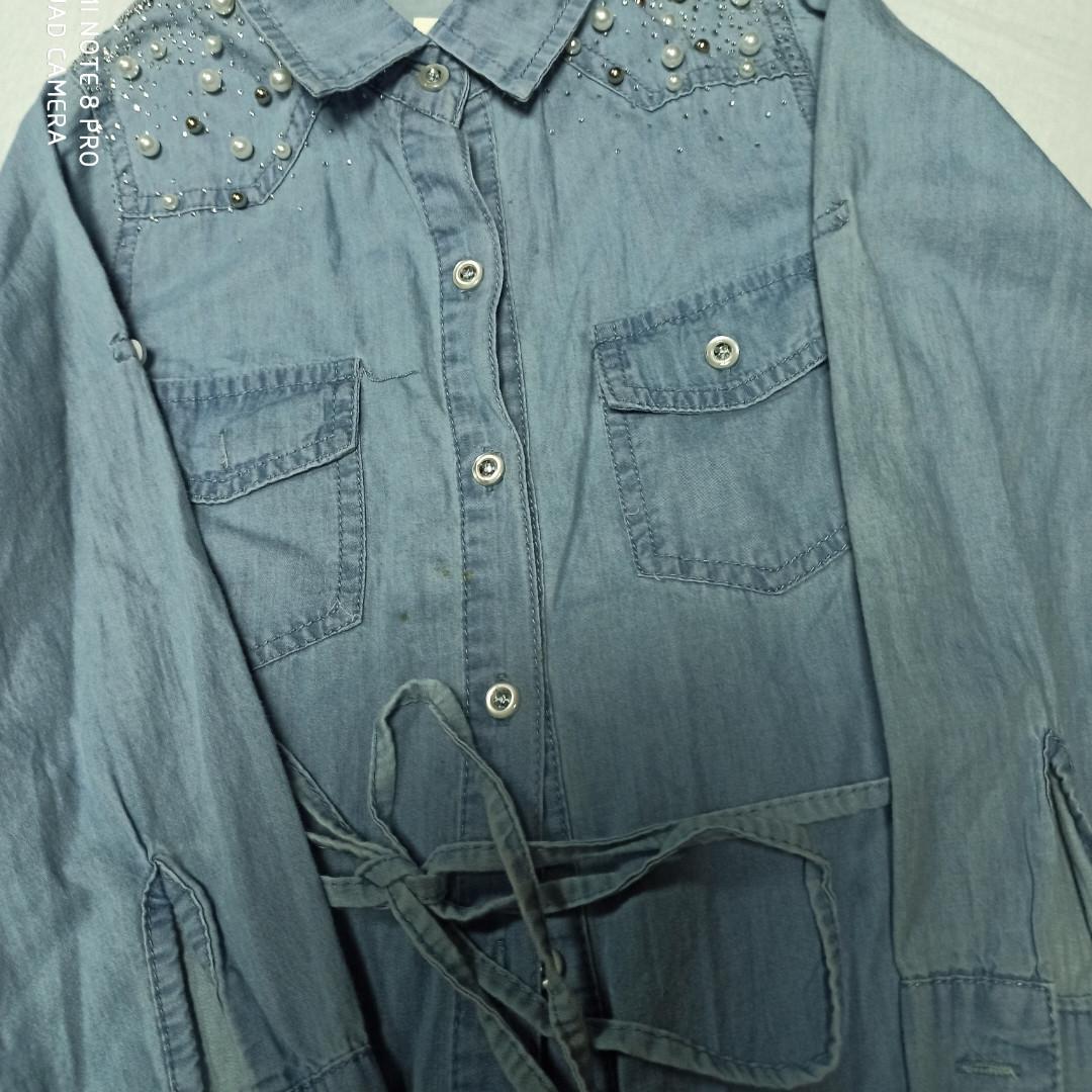 Модная красивая нарядная кофта для девочки. Ткань- джинс. Рукав- трансформер. Украшение- бусины.
