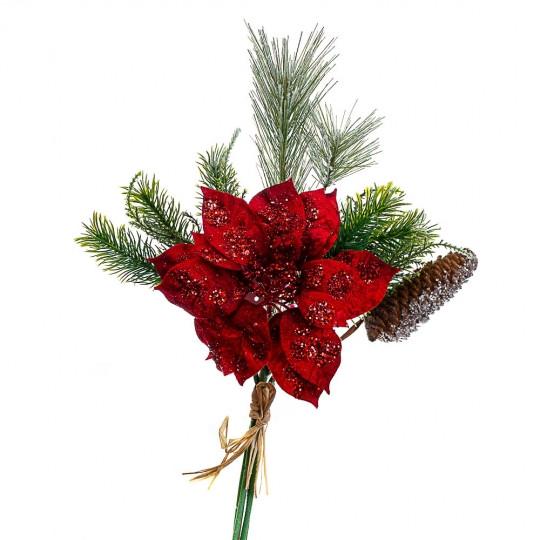 Ветка новогодняя с шишкой 40 см красная