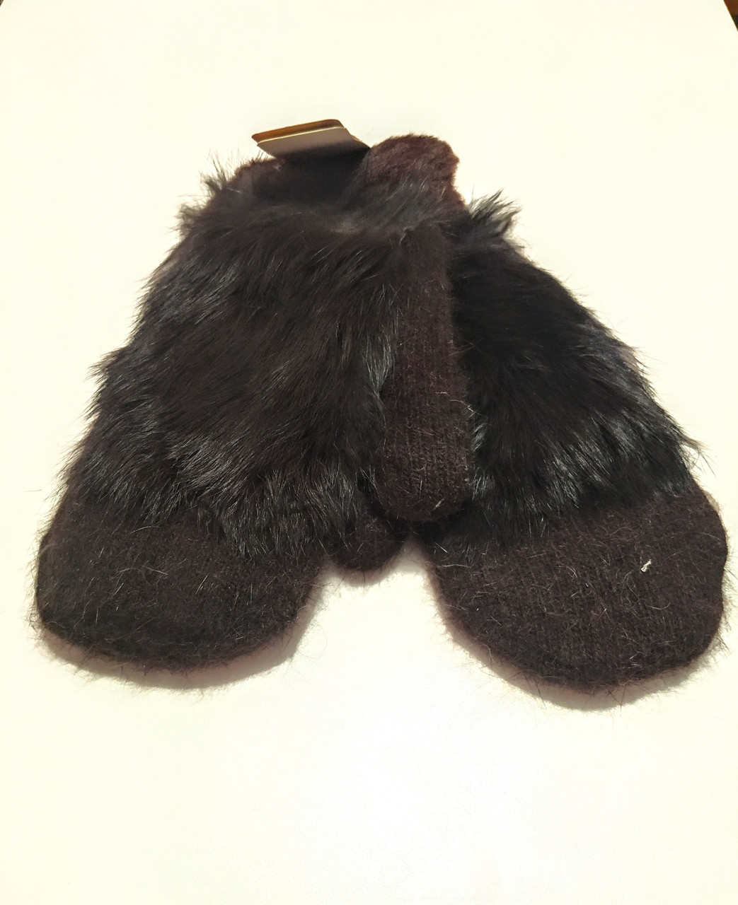 Варежки рукавички женские ангора на меху двойные шоколадные