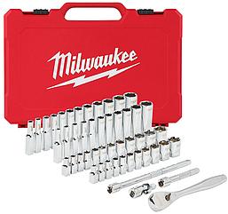 Набор метрических и дюймовых головок Milwaukee 1/4 с храповиком (50 шт.) (4932464944)
