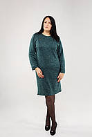 Женское тёмно-зелёное ангоровое платье в больших размерах