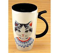 ПРИКОЛЬНЫЕ КРУЖКИ оригинальная кружка с поилкой MR CAT ( кошка в платье )