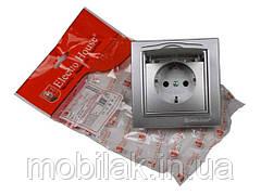 Розетка з кришкою срібло вологозахищена Enzo EH-2116-ST ТМ ELECTROHOUSE
