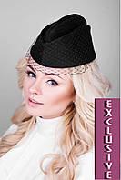 Элегантная женская шапочка с вуалью (черный)