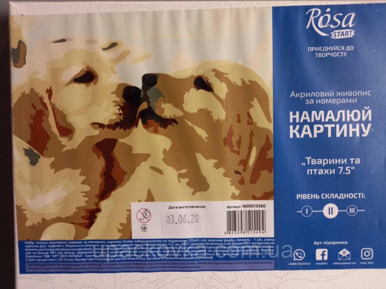 "Набор-стандарт, картина по номерам, ""Животные 7.5, 35х45см, ROSA START"