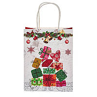"""Пакет подарочный красивый бумажные подарунковий пакет новогодние 2021 """"Подарочки"""" 31*24.5*10.5 см (8208-018)"""