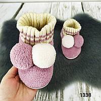 Комнатные тапочки детские с задником с бубончиками и довязом разные цвета