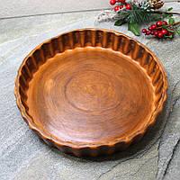 Круглая форма для запекания из красной глины 27 см