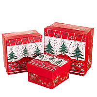 """Набор подарочных коробок """"Лесные ели"""" 3 шт. Маленькие (8013-002)"""