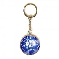 3D Брелоки на ключи брелки для ключей прикольные оригинальные новогодний Снежинка (синий) 3,5см