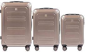 Набор поликарбонат чемоданов 3 в 1 Wings PC 175 на 4 сдвоенных колесах Бронзовый (Bronza)