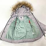 Зимняя куртка для мальчика с натуральным мехом  БИО-ПУХ Серый р. 110, фото 3