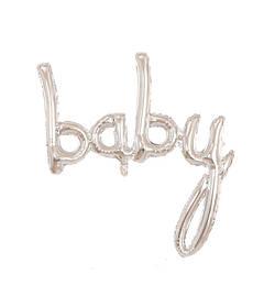 """Гірлянда фольгована на виписку для дівчинки і хлопчика, срібло, """"Baby"""""""