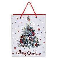 """Пакет подарочный красивый бумажные подарунковий пакет новогодние 2021 """"Merry Christmas"""" 32*26*12 (8209-002)"""