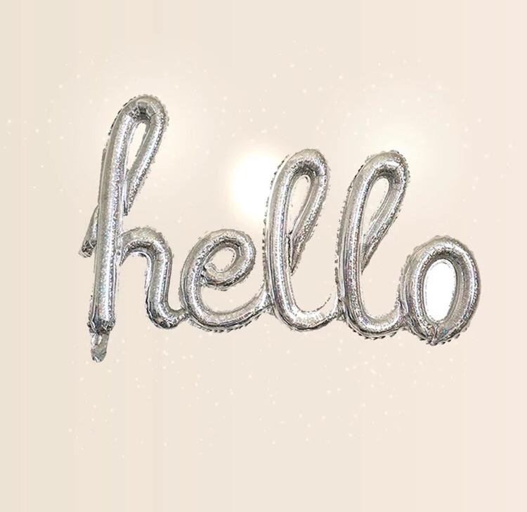 "Гірлянда фольгована срібло голограма ""hello, вечірка"""