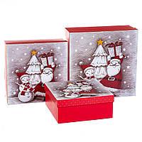 """Набор коробок для подарков подарочные 3-х коробок """"Новогодние друзья"""" 28*28*11 (8211-002)"""
