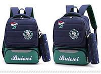 Детский школьный рюкзак Mujer с пеналом черный с зеленым
