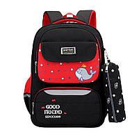 Детский школьный рюкзак с пеналом Mujer с принтом рыбки черный с красным