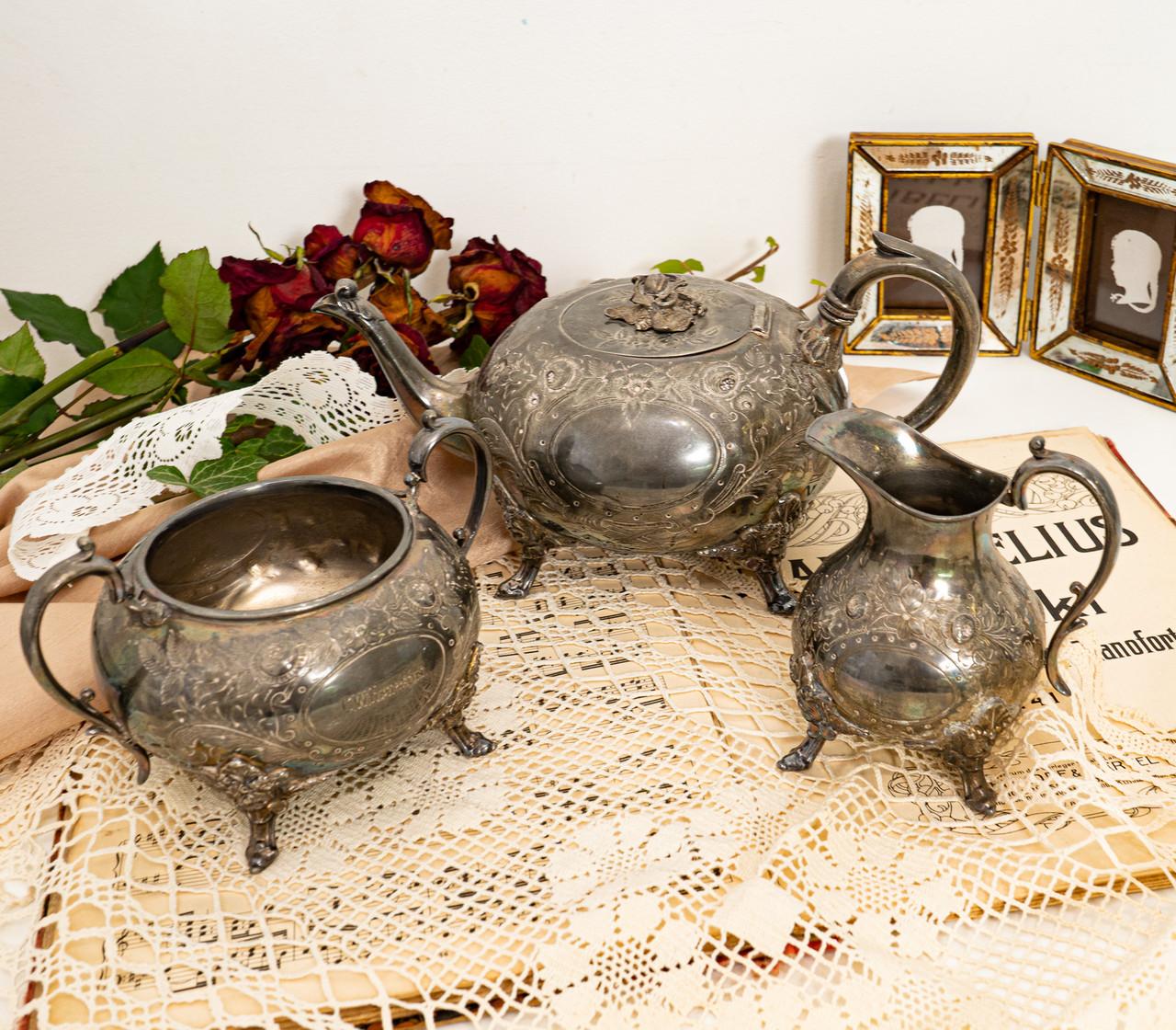 Антикварный посеребренный чайный сервиз, серебрение, Англия, Sheffield H. Land