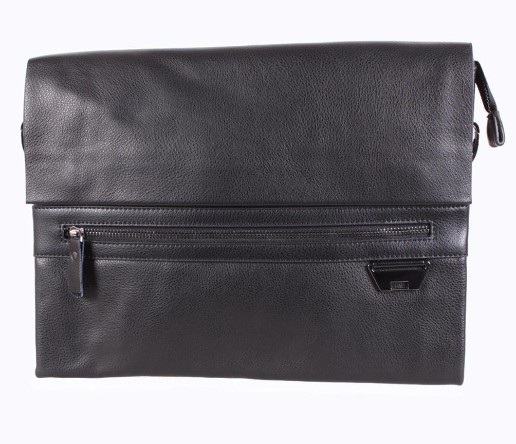 Мужская кожаная сумка под А4 Dovhani Black172 Черная