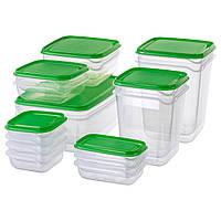 Набор контейнеров для пищи IKEA, судки для хранения продуктов питания, прозрачные емкости, 17 шт., зеленый