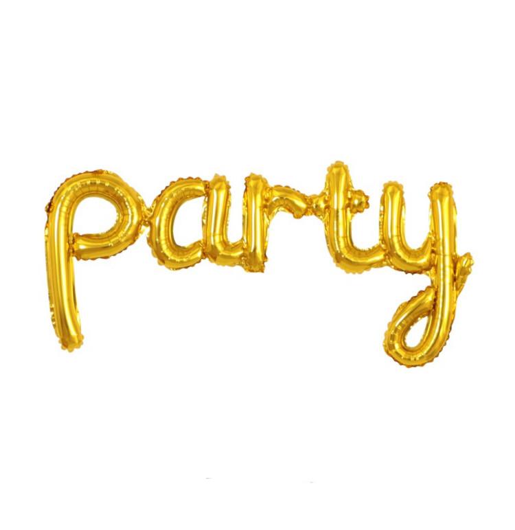 """Гірлянда фольгована золота """"party, вечірка"""""""