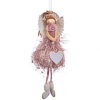 """Новогодние игрушки на елку и украшения елочные Новогодний декор 2021 """"Ангел"""" розовый (6013-003)"""
