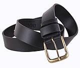 Мужской кожаный ремень Dovhani LD666-12 115-125 см Черный, фото 2