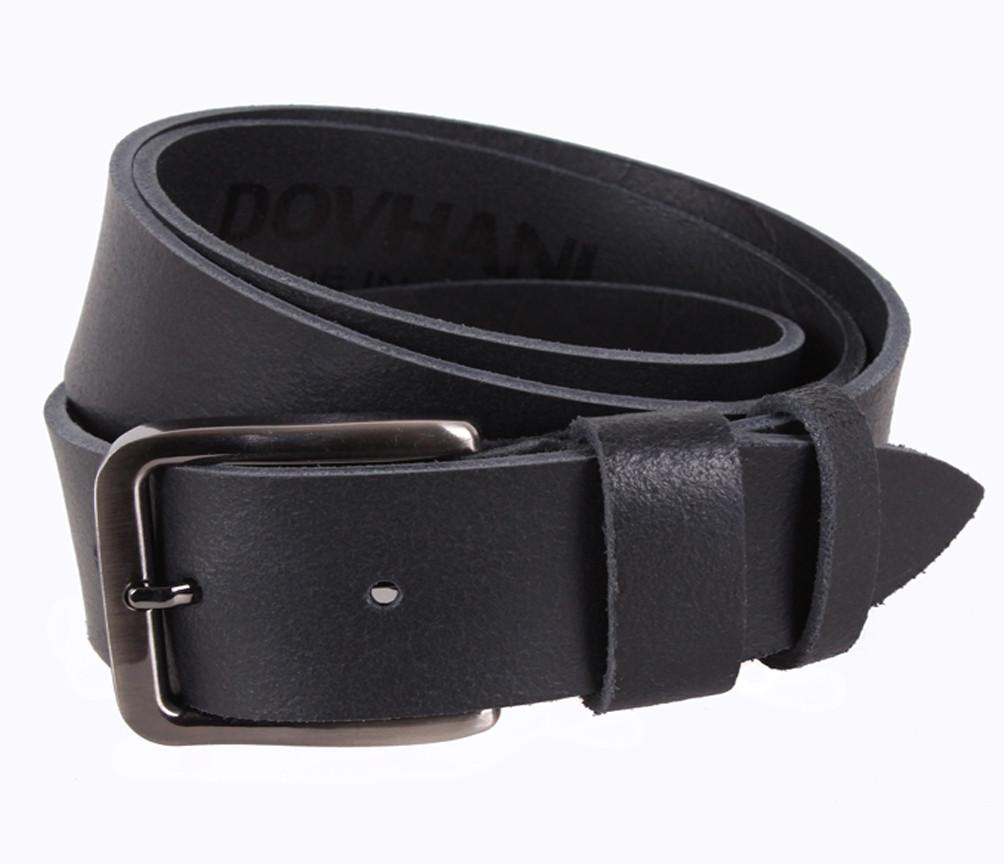 Мужской кожаный ремень Dovhani SP999-16 115-125 см Черный
