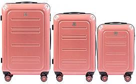 Набор поликарбонат чемоданов 3 в 1 Wings PC 175 на 4 сдвоенных колесах Розовый (Pink)
