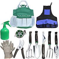 Набор садовый Lesko CG-6011 из 11 предметов с сумкой и фартухом комплект ручных инструментов для сада