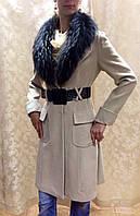 Пальто кашемировое женское беж Cavalli с меховым воротником