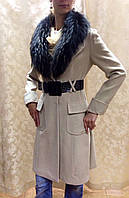 Пальто кашемировое женское беж в стиле Cavalli с меховым воротником
