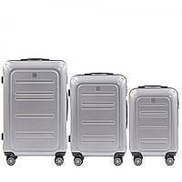 Набор поликарбонат чемоданов 3 в 1 Wings PC 175 на 4 сдвоенных колесах Серебряный (Silver)