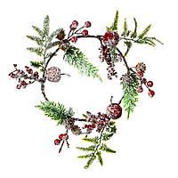 Новогодний декоративный венок на дверь новогодние венки 2021 ягодный в снегу (032NT/sam)