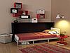 Горизонтальная шкаф-кровать с полками и светильником