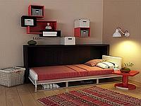 Горизонтальная шкаф-кровать с полками и светильником, фото 1