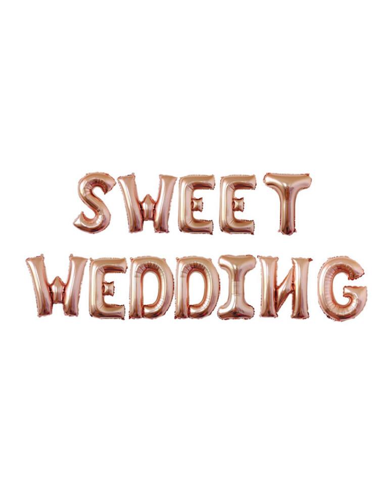 "Гірлянда фольгована рожеве золото ""SWEET WEDDING, весілля"""