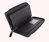Мужской портмоне на одну молнию BLACK001-1 Черный 87-118 см., фото 4