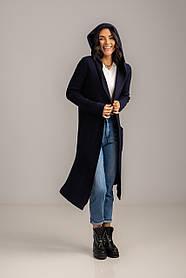 Теплый длинный кардиган с капюшоном и карманами в 2 цветах в размерах S/M и M/L