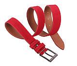 Мужской замшевый ремень Dovhani Z63-24 115-125 см Красный, фото 2