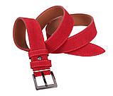 Мужской замшевый ремень Dovhani Z63-24 115-125 см Красный, фото 3