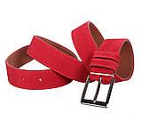 Мужской замшевый ремень Dovhani Z63-24 115-125 см Красный, фото 4