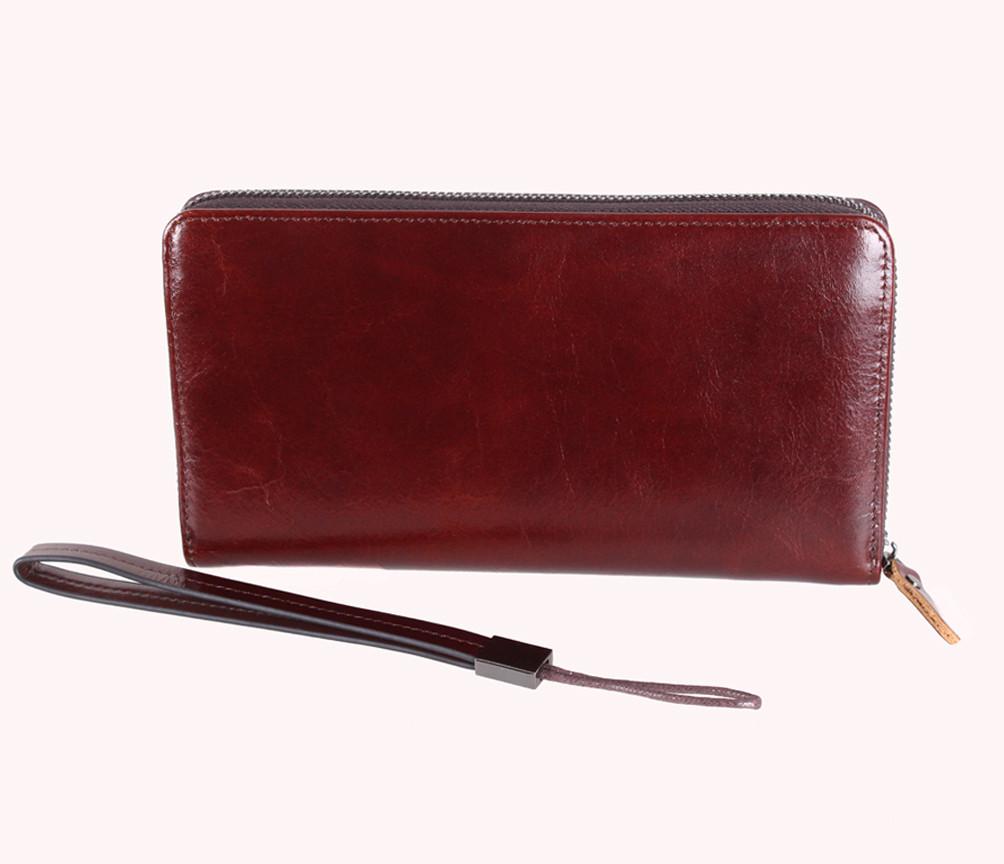 Винтажный клатч из кожи COFFEE001-4 Бордовый 87-118 см.
