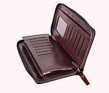 Винтажный клатч из кожи COFFEE001-4 Бордовый 87-118 см., фото 4