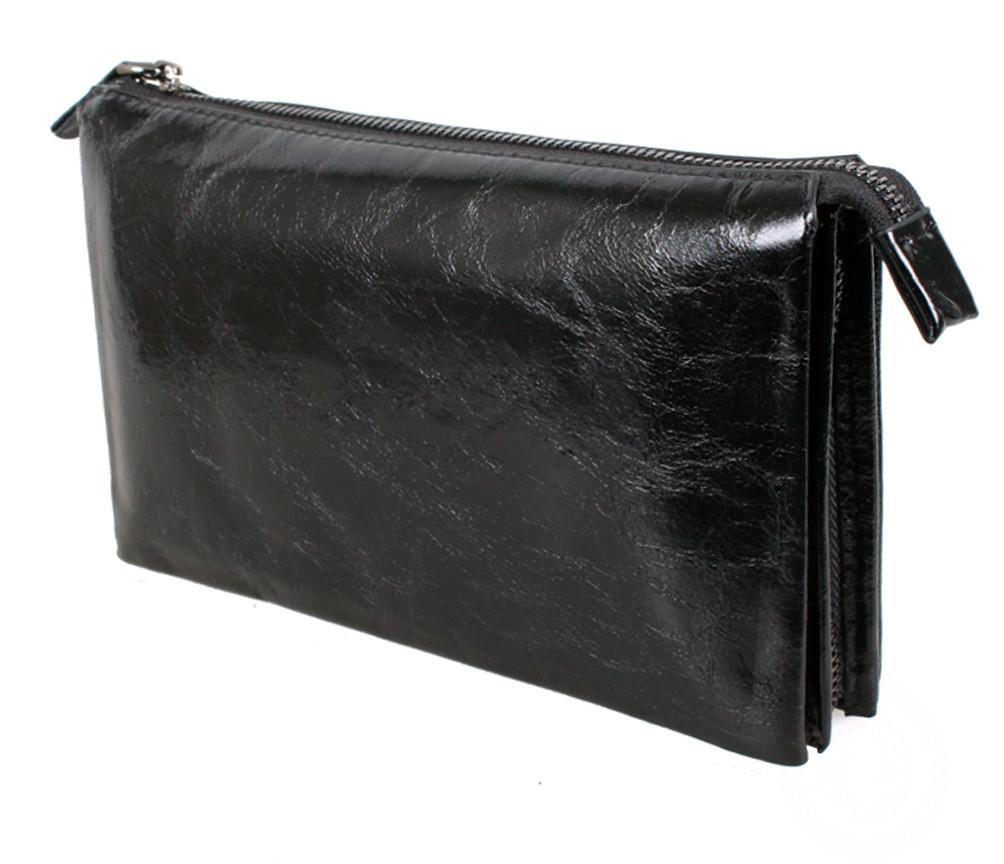 Кожаный клатч лаковый BLACK006-1 Черный